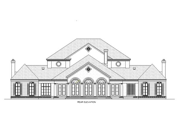 Colonial , Plantation , Southern , Rear Elevation of Plan 65615