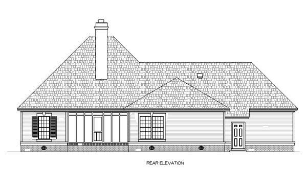 European House Plan 65616 Rear Elevation