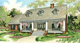 Colonial , Country , Southern House Plan 65622 with 3 Beds, 2 Baths, 2 Car Garage Elevation