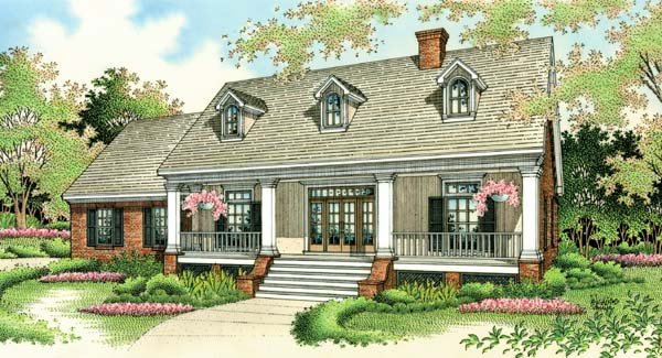 Colonial , Country , Southern , Elevation of Plan 65622