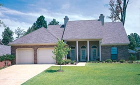 Colonial House Plan 65635 with 3 Beds, 2 Baths, 2 Car Garage Picture 1