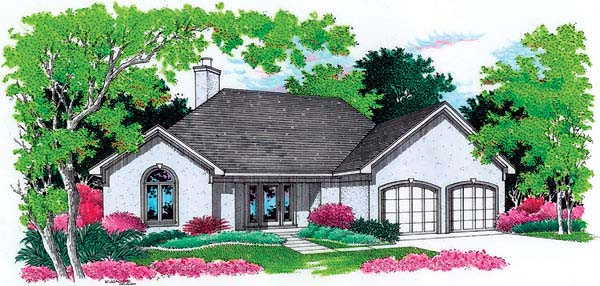 House Plan 65636 | European Mediterranean Style Plan with 1420 Sq Ft, 3 Bedrooms, 2 Bathrooms, 2 Car Garage Elevation