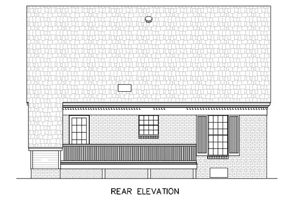 Cape Cod , Country , Rear Elevation of Plan 65640