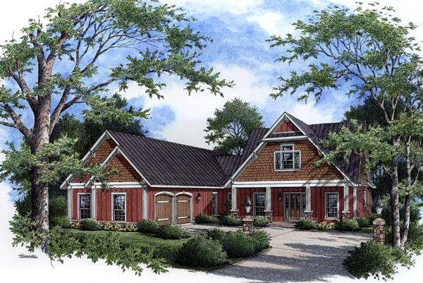 Craftsman Southern Traditional House Plan 65642