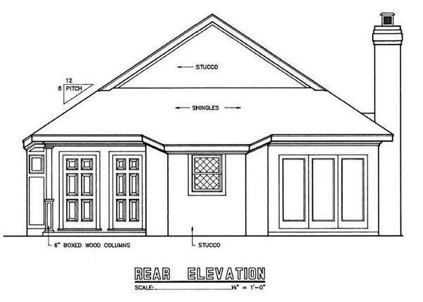 Mediterranean , Narrow Lot , Rear Elevation of Plan 65643