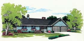 Ranch House Plan 65644 with 3 Beds, 2 Baths, 2 Car Garage Elevation