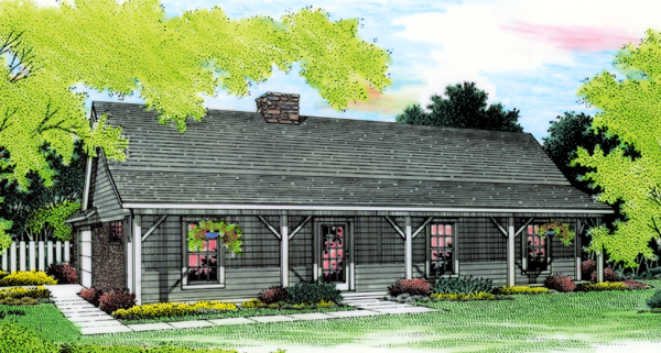 Cabin Country Ranch Elevation of Plan 65648