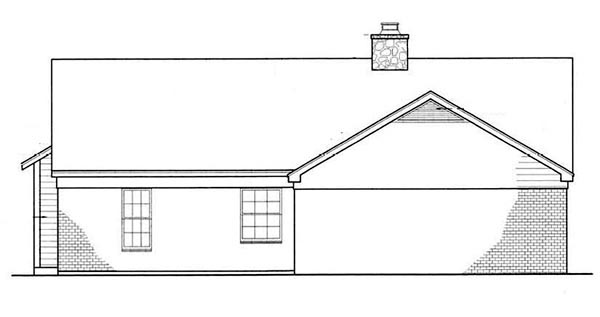 Cabin Country Ranch Rear Elevation of Plan 65648
