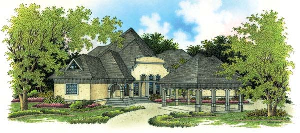 Southern , European , Contemporary House Plan 65651 with 5 Beds, 7 Baths, 3 Car Garage Elevation