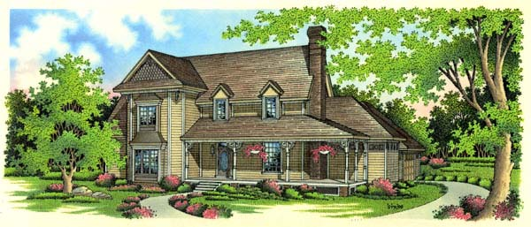 House Plan 65660 | Country Victorian Style Plan with 3162 Sq Ft, 4 Bedrooms, 4 Bathrooms, 2 Car Garage Elevation