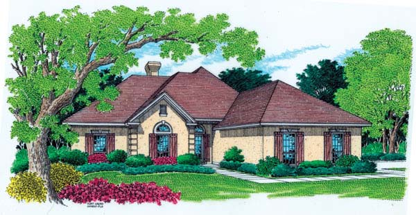 Mediterranean, One-Story House Plan 65666 with 4 Beds, 3 Baths, 2 Car Garage Front Elevation