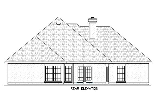 Mediterranean, One-Story House Plan 65666 with 4 Beds, 3 Baths, 2 Car Garage Rear Elevation