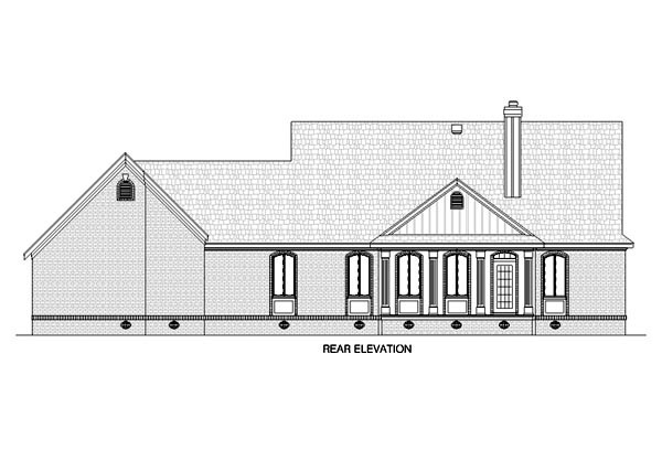 Country, House Plan 65672 with 3 Beds, 2 Baths, 2 Car Garage Rear Elevation