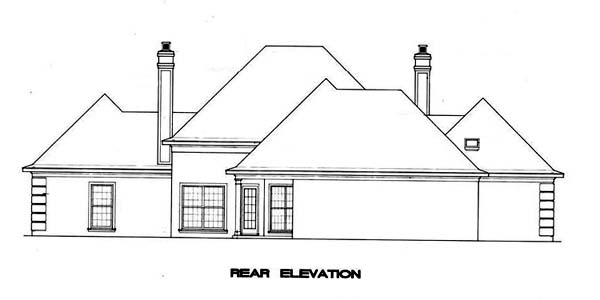 Mediterranean, One-Story House Plan 65674 with 3 Beds, 2 Baths, 2 Car Garage Rear Elevation