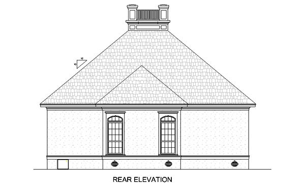 Colonial European Southern House Plan 65676 Rear Elevation