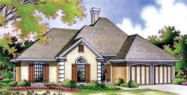 Mediterranean, One-Story House Plan 65677 with 4 Beds, 2 Baths, 2 Car Garage Elevation