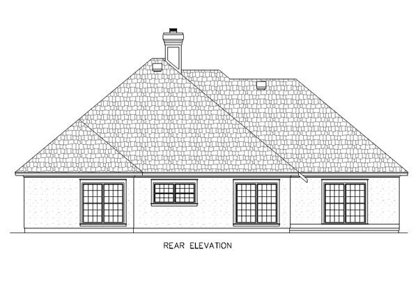 Mediterranean, One-Story House Plan 65677 with 4 Beds, 2 Baths, 2 Car Garage Rear Elevation
