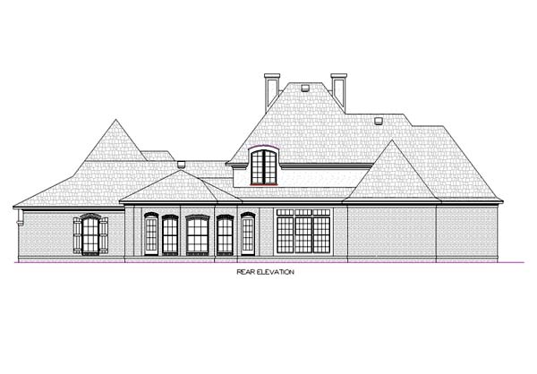 European , Mediterranean House Plan 65679 with 4 Beds, 5 Baths, 3 Car Garage Rear Elevation