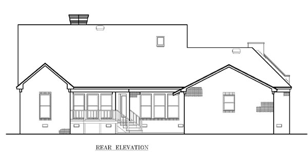 One-Story Southwest Rear Elevation of Plan 65682