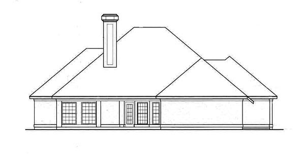 European House Plan 65684 Rear Elevation