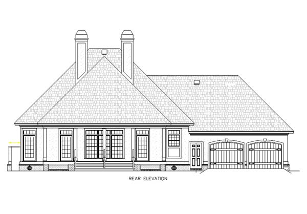 Traditional House Plan 65685 with 3 Beds, 3 Baths, 2 Car Garage Rear Elevation