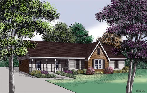 Country , Ranch House Plan 65689 with 3 Beds, 2 Baths, 2 Car Garage Elevation