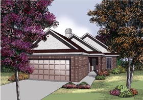House Plan 65691 | Traditional Style House Plan with 1579 Sq Ft, 2 Bed, 2 Bath, 2 Car Garage Elevation