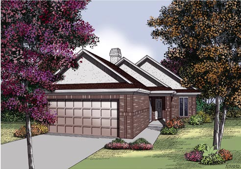 Traditional House Plan 65691 with 2 Beds, 2 Baths, 2 Car Garage Elevation