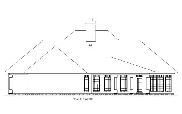 Country Traditional House Plan 65697 Rear Elevation