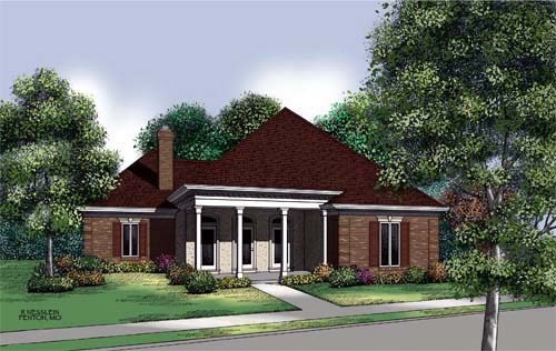 Colonial Country One-Story Elevation of Plan 65698