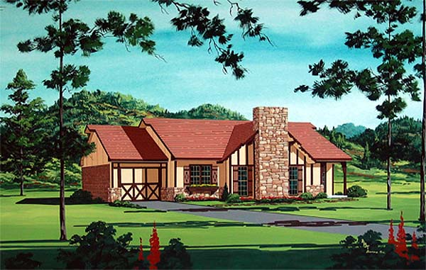 Traditional House Plan 65724 with 3 Beds, 2 Baths, 1 Car Garage Elevation