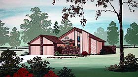 House Plan 65733 | Contemporary Style Plan with 1407 Sq Ft, 3 Bedrooms, 2 Bathrooms, 2 Car Garage Elevation