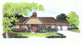 Tudor House Plan 65751 with 3 Beds, 2 Baths, 2 Car Garage Elevation