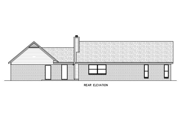One-Story, Ranch House Plan 65757 with 3 Beds, 2 Baths, 2 Car Garage Rear Elevation
