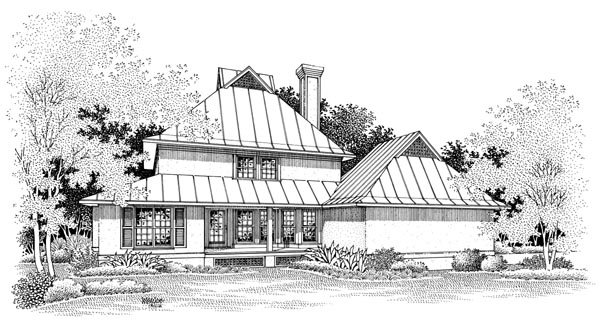 House Plan 65767 | Farmhouse Style Plan with 1872 Sq Ft, 3 Bedrooms, 4 Bathrooms, 2 Car Garage Rear Elevation