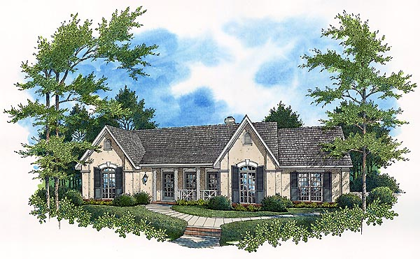 House Plan 65768 | European Tuscan Style Plan with 1868 Sq Ft, 3 Bedrooms, 2 Bathrooms, 2 Car Garage Elevation