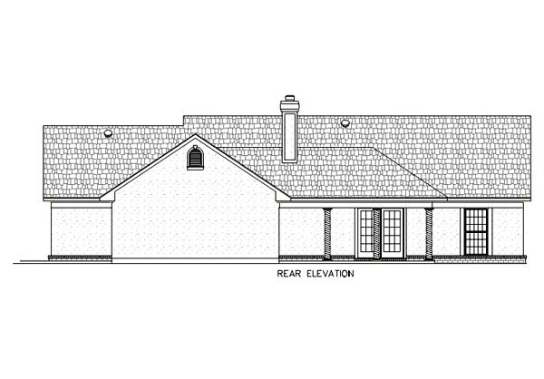 House Plan 65768 | European Tuscan Style Plan with 1868 Sq Ft, 3 Bedrooms, 2 Bathrooms, 2 Car Garage Rear Elevation