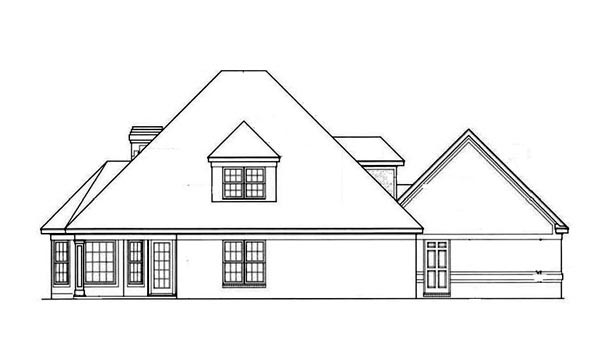 House Plan 65775 | European Style Plan with 2047 Sq Ft, 4 Bedrooms, 3 Bathrooms, 2 Car Garage Rear Elevation