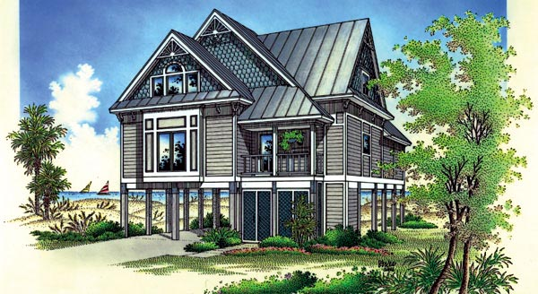 Coastal, Narrow Lot House Plan 65776 with 4 Beds, 3 Baths, 2 Car Garage Elevation
