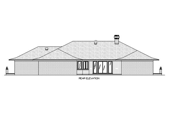 Contemporary One-Story Rear Elevation of Plan 65781