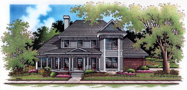 Victorian House Plan 65783 with 4 Beds, 4 Baths, 2 Car Garage Elevation