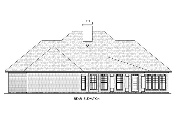 European House Plan 65784 Rear Elevation