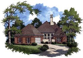 European House Plan 65789 with 4 Beds, 3 Baths, 2 Car Garage Elevation