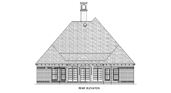 European House Plan 65789 Rear Elevation
