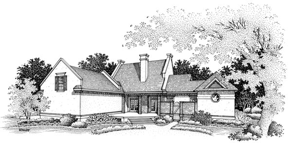 House Plan 65795 | European Style Plan with 2680 Sq Ft, 4 Bedrooms, 4 Bathrooms, 2 Car Garage Rear Elevation