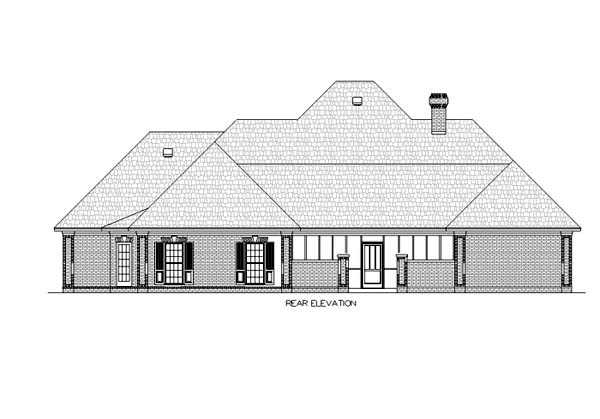 European House Plan 65799 Rear Elevation