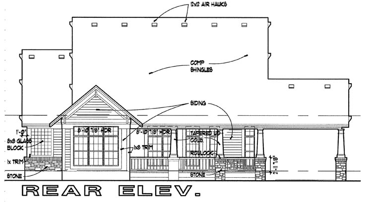 Bungalow House Plan 65800 with 3 Beds , 2 Baths , 2 Car Garage Rear Elevation