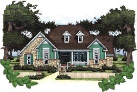 Cottage , Craftsman House Plan 65802 with 3 Beds, 2 Baths, 2 Car Garage Elevation