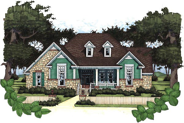 Cottage, Craftsman House Plan 65802 with 3 Beds , 2 Baths , 2 Car Garage Elevation