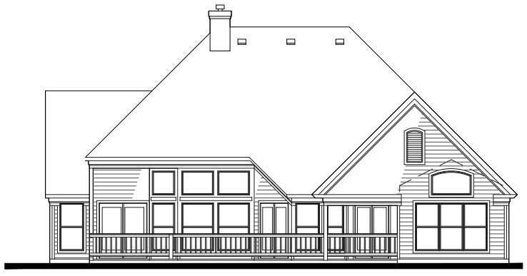 Cottage Craftsman House Plan 65802 Rear Elevation